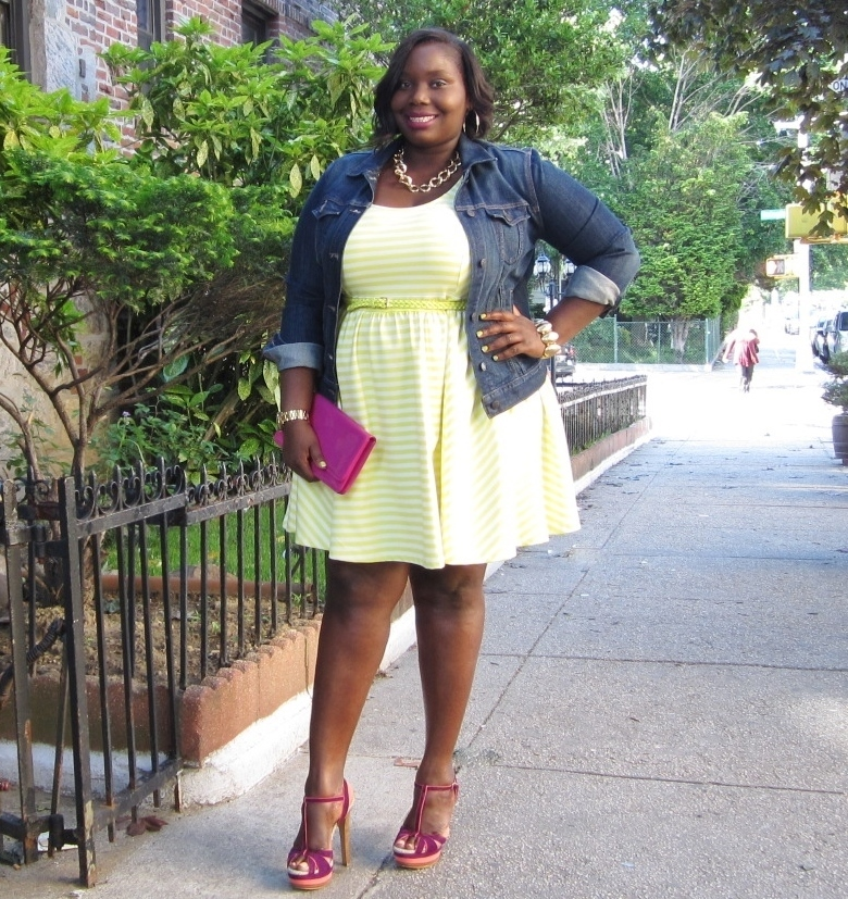 A Denim Jacket And Jessica Simpsons Plus Size Skater Dress