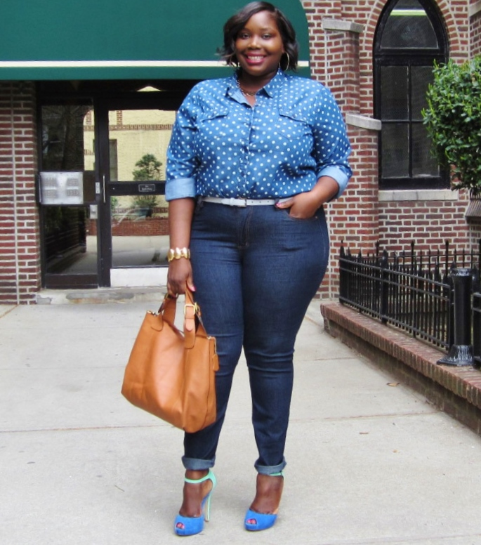 POLKA DOT DENIM ON DENIM | Stylish Curves
