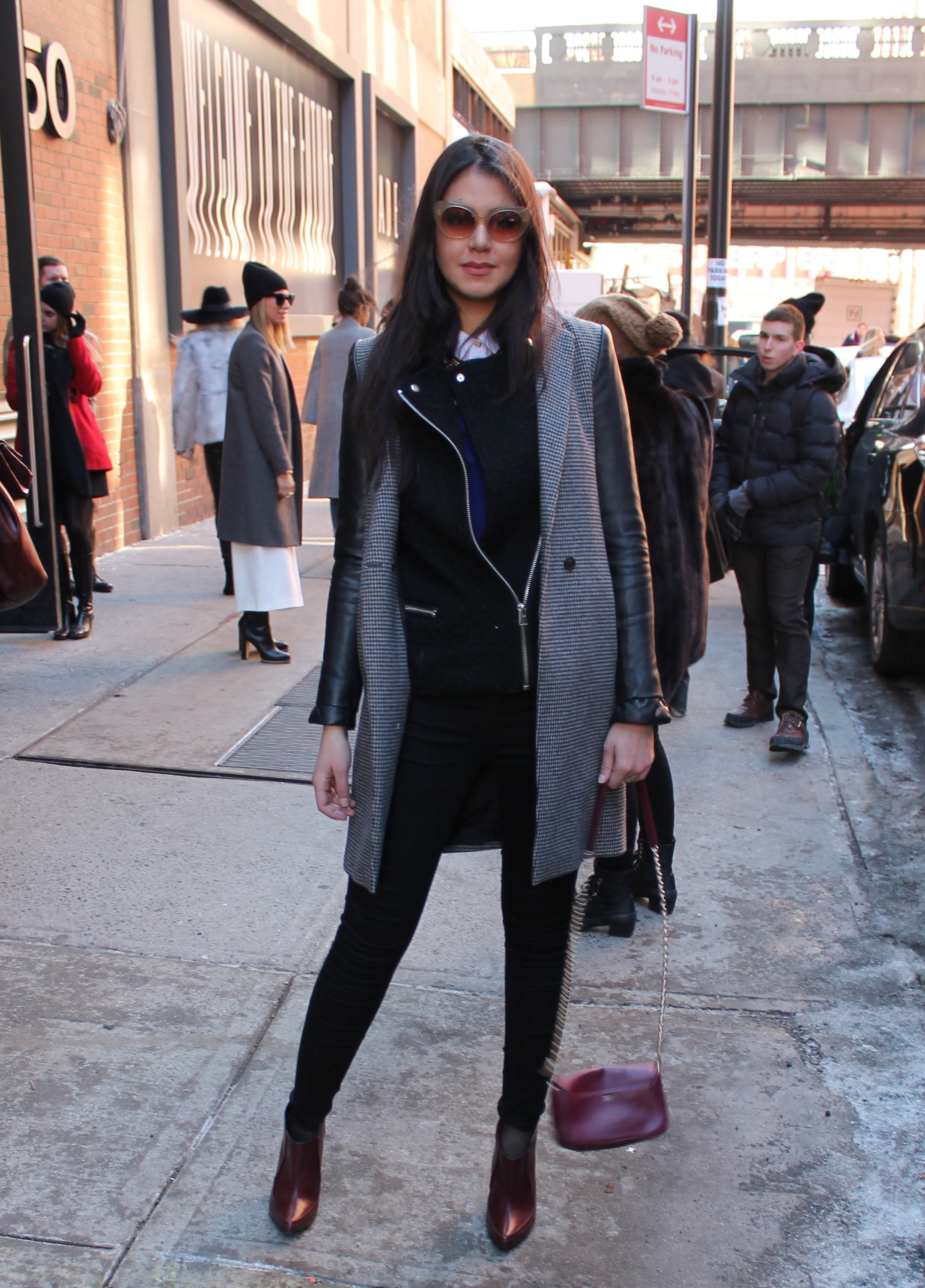 Street style mercedes benz new york fashion week for Mercedes benz leather jacket
