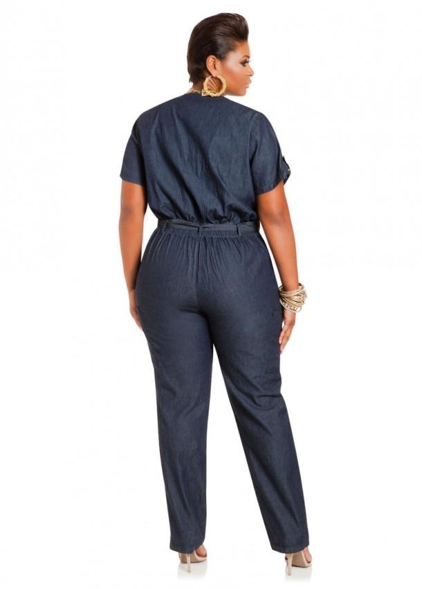 14f69e30c4d3 Ashley Stewart Denim Short sleeve Jumpsuit  59.50.  AS-022150 2148X blue front. AS-022150 2148X blue back