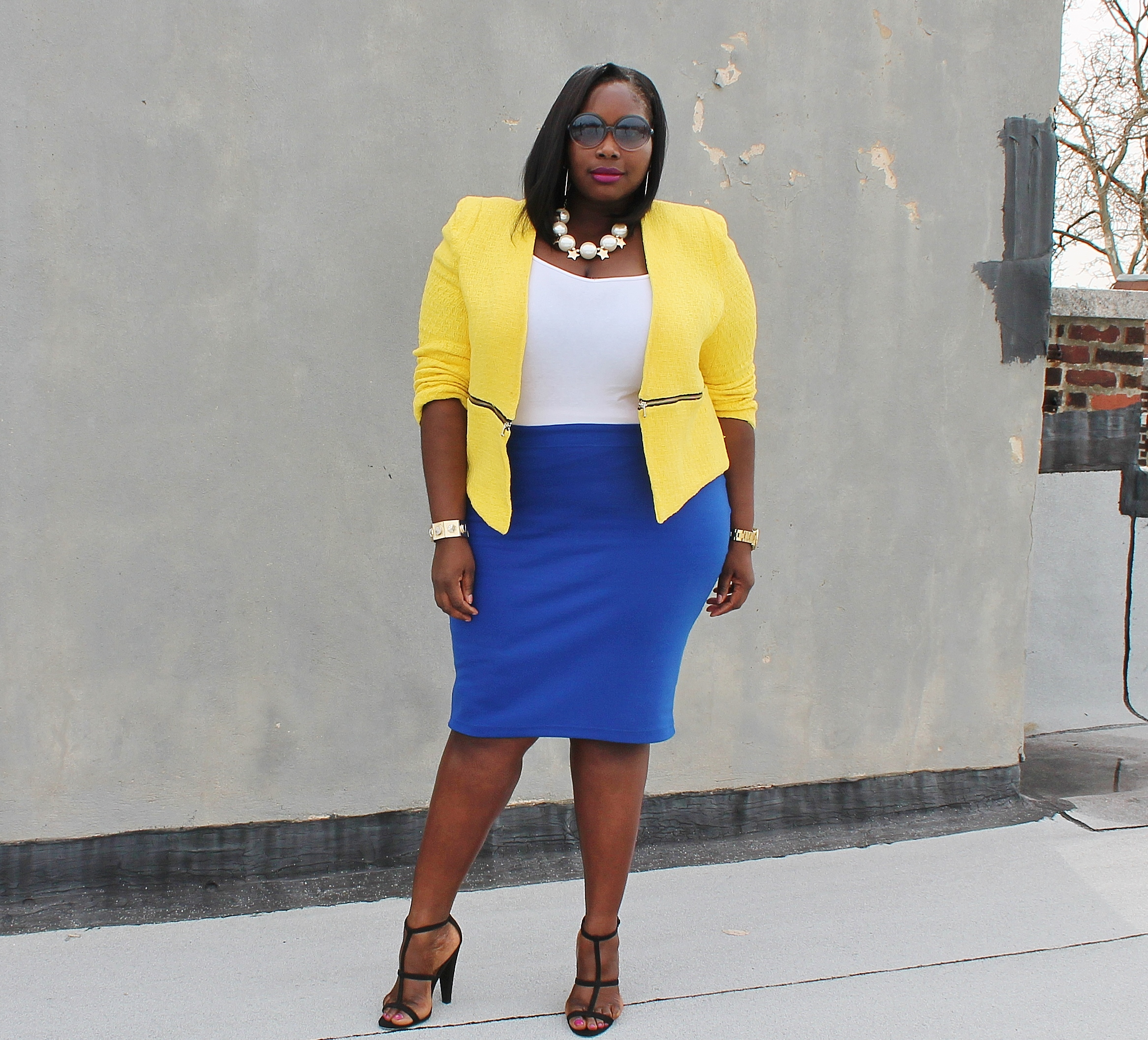 style journey: top to bottom color at the office | stylish curves