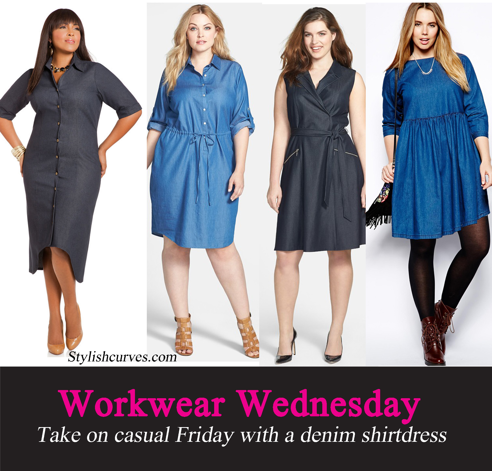 51f2baf1f15443 WORKWEAR WEDNESDAY  TAKE ON CASUAL FRIDAY WITH PLUS SIZE DENIM SHIRT-DRESSES