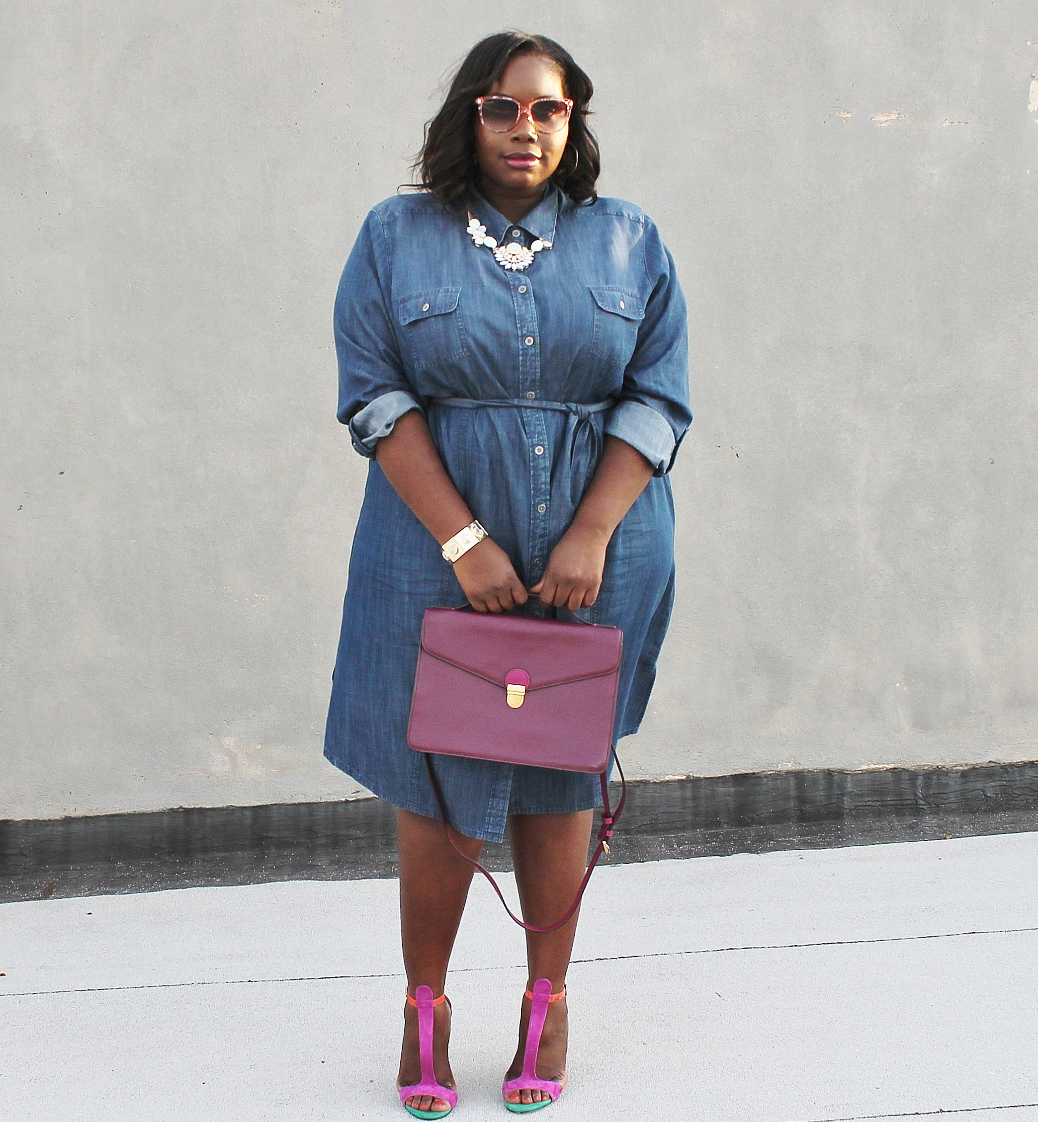 d21e2c967a4 (Read plus size denim shirtdress post HERE). It's been about 2 weeks since  spring has showed up so I thought the breezy 70 degree weather was the  perfect ...