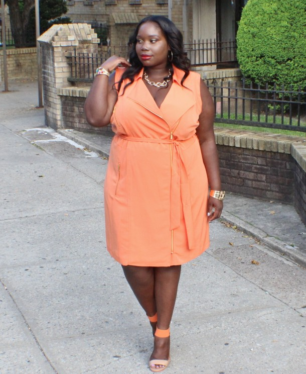 plus orange dress outfits