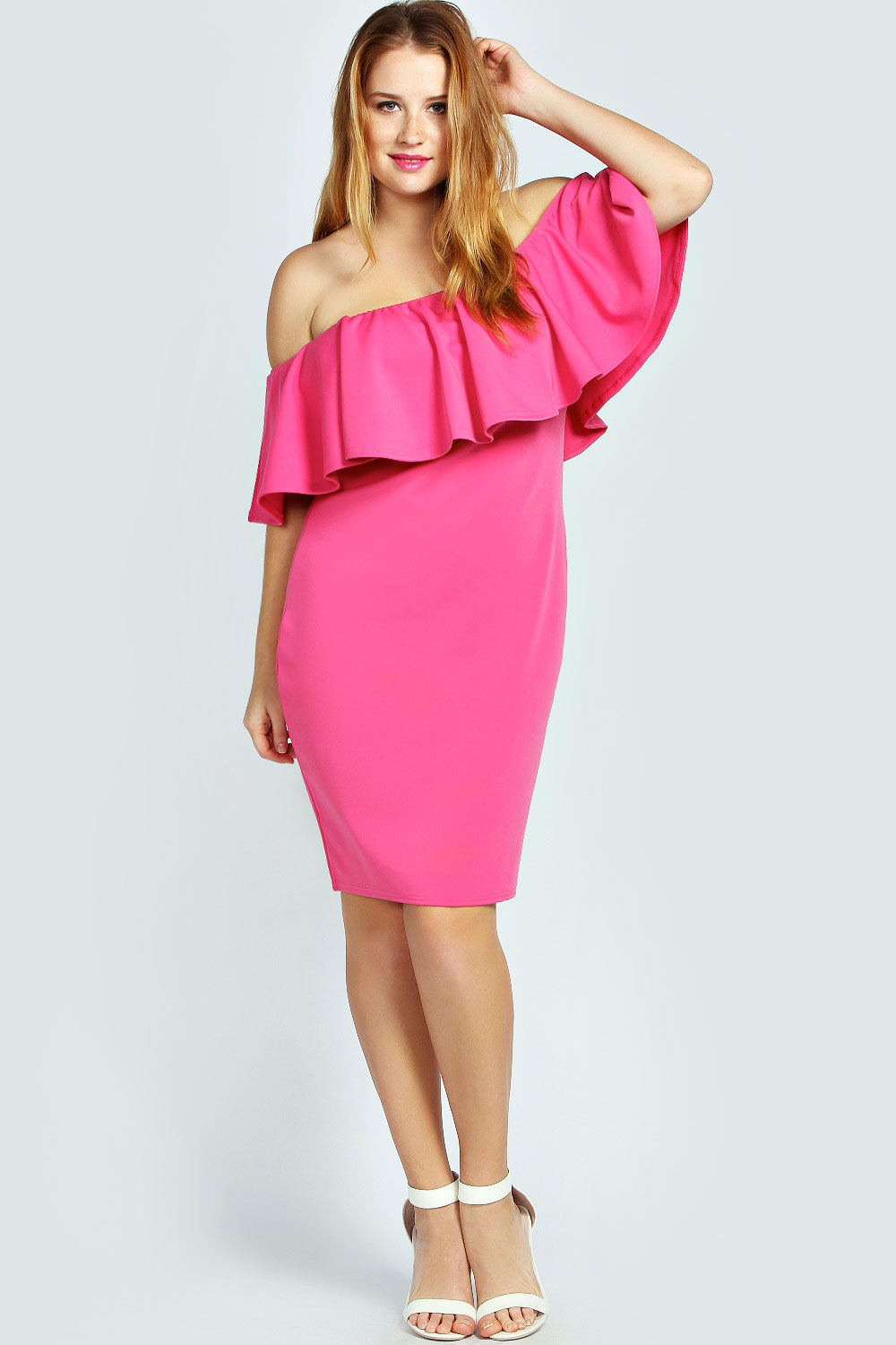f4d85ffcd1dd STYLISH CURVES PICK OF THE DAY  BOOHOO PLUS SINEAD FRILL SLEEVE OFF THE  SHOULDER PLUS SIZE DRESS