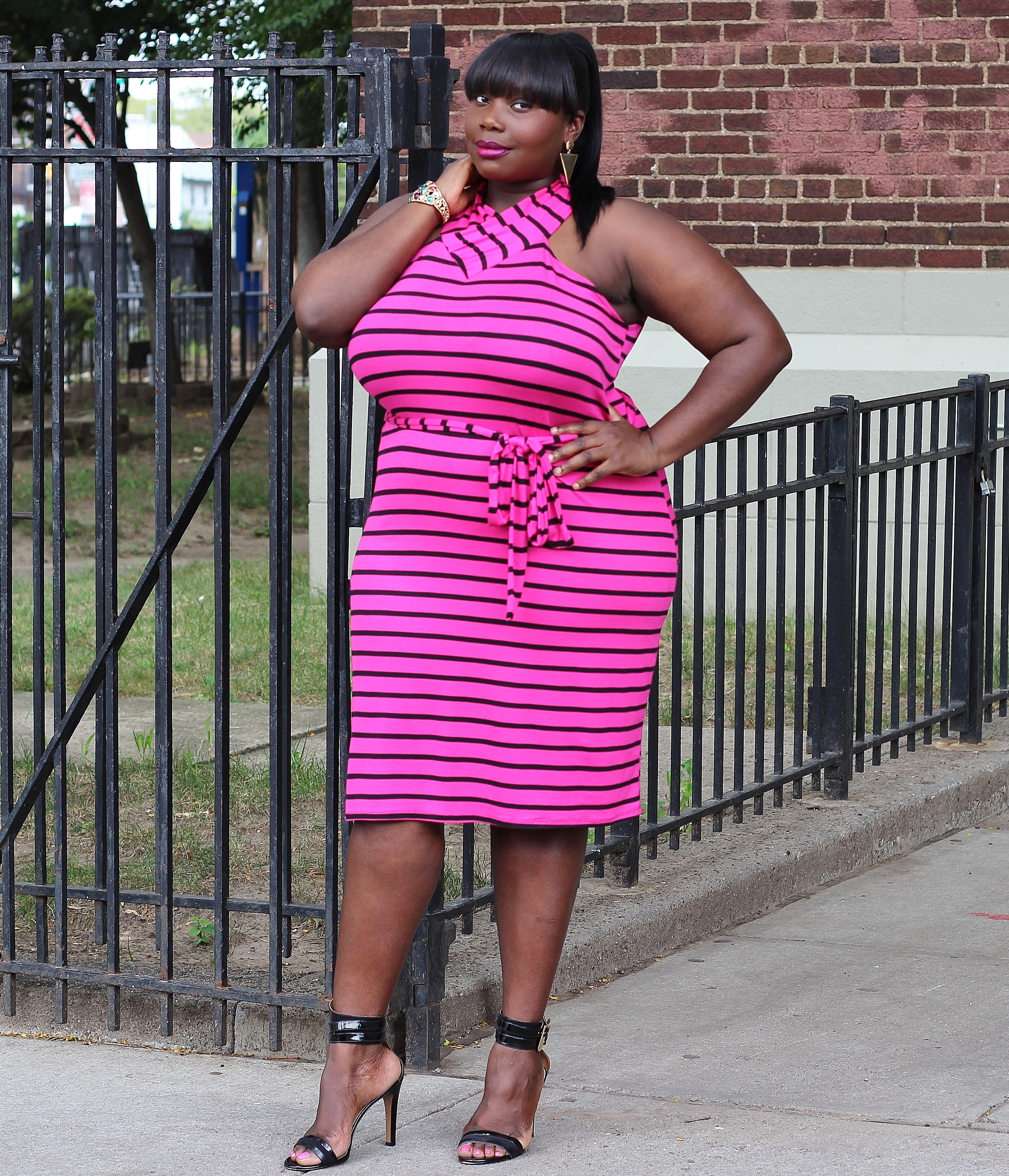 STYLE JOURNEY: ROCKING ASHLEY STEWART PINK STRIPED TEE SHIRT ...