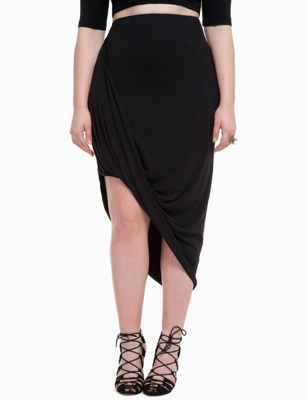 eloquii plus size knit faux wrap skirt