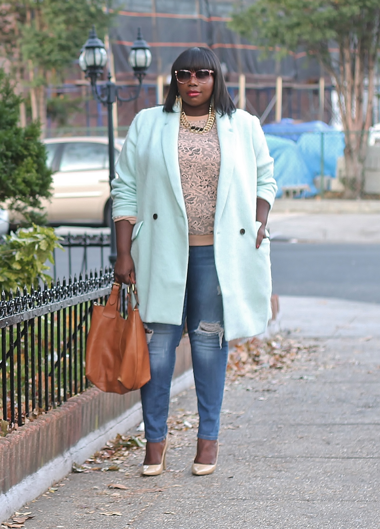 f1e338a1b6a Embracing The Fall Weather In An Old Navy Mint Plus Size Coat And A BB  Dakota Lace Pullover