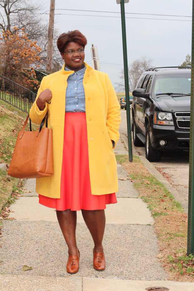 How To Wear A Bright Colored Coat For Fall Winter Plus Size