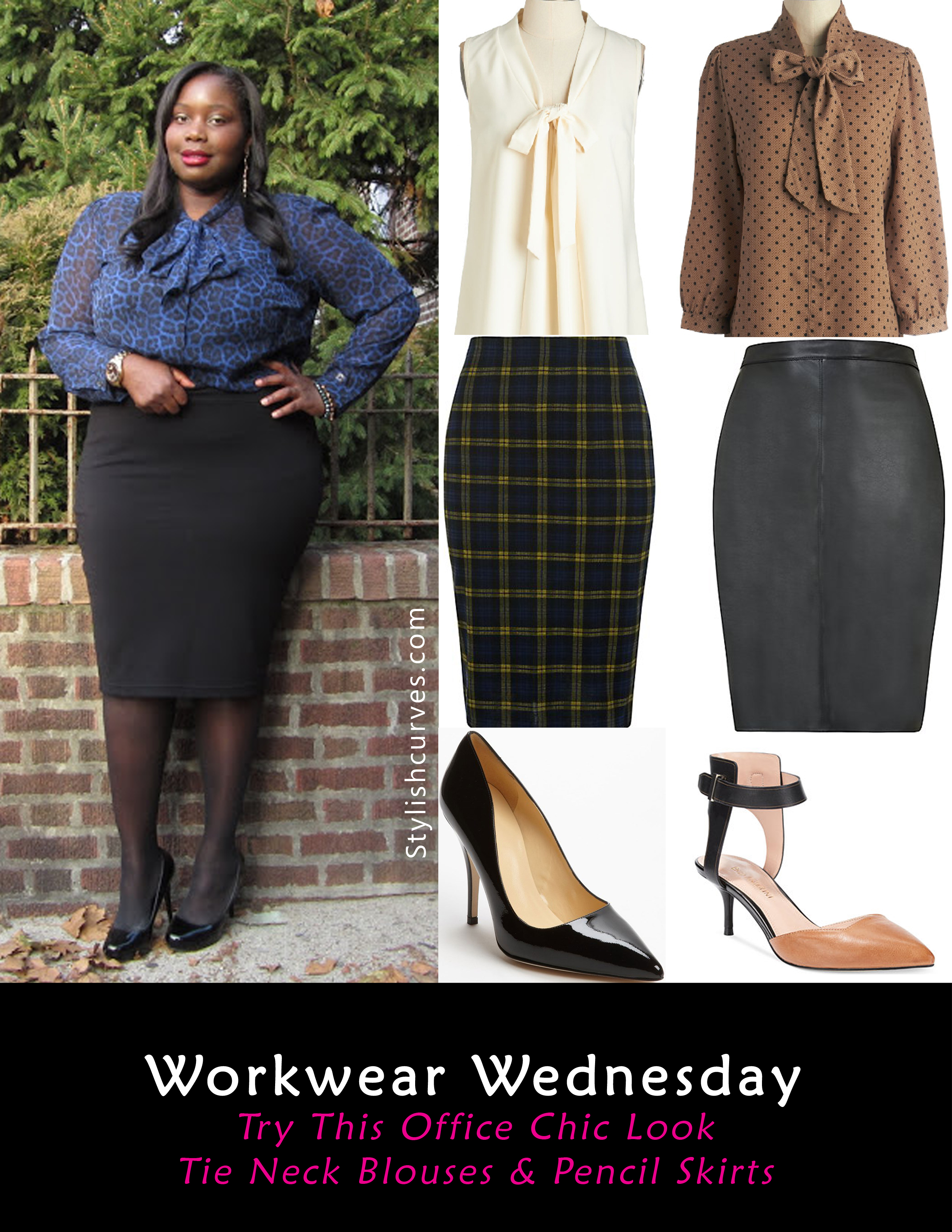 need an easy work look to get you out the door in 15 minutes well try a tie neck blouse and pencil skirt for a quick chic office look plus size chic office ideas 15 chic