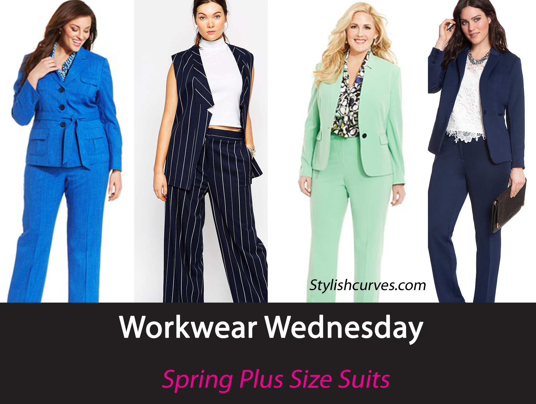 No More Boring Black Suits,Turn Up Your Office Style With These Chic Spring Plus Size Pant Suits