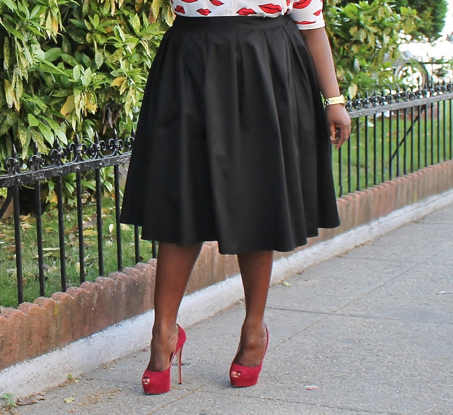 lip prints plus size midi skirts stylish