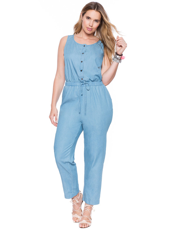 917eeeea7c1 Look Chic In Eloquii s Chambray Plus Size Jumpsuit