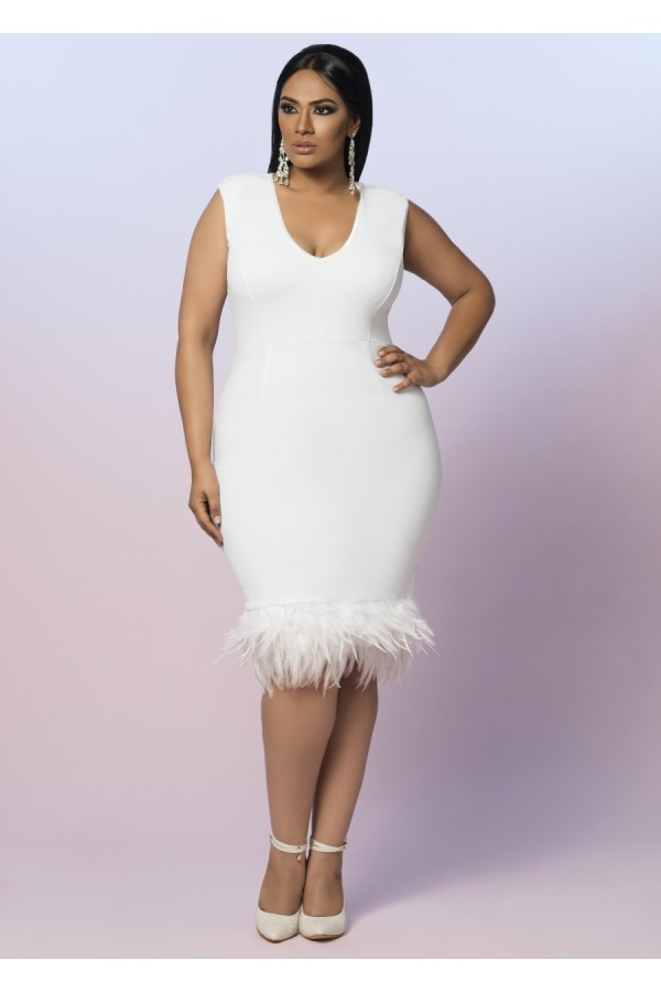 plus size feather cocktail dress