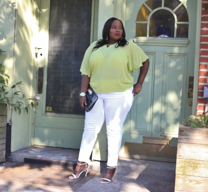 afb1e5943ef Ashley Stewart Cape Top 6 (800x737) I happened to score these white skinny  jeans ...