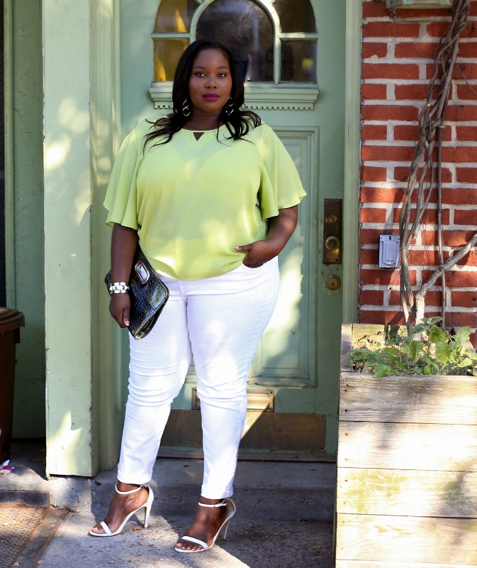 fe1efea77ba ... plus size white skinny jeans and this is how I rock them. Ashley  Stewart Cape Top (673x800)