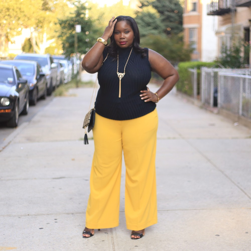 Getting Ready For Fall In A Pair Of Mustard Plus Size Wide Leg Pants