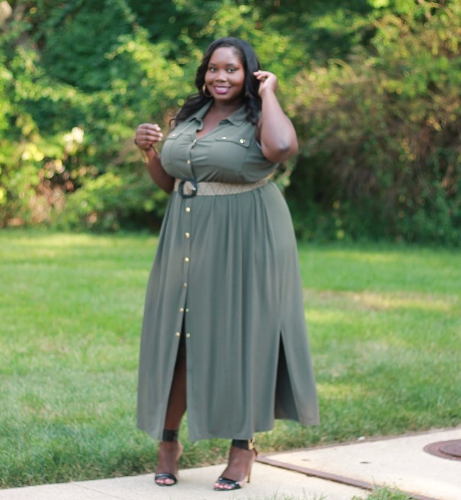 The Military Chic Plus Size Maxi Dress | Stylish Curves