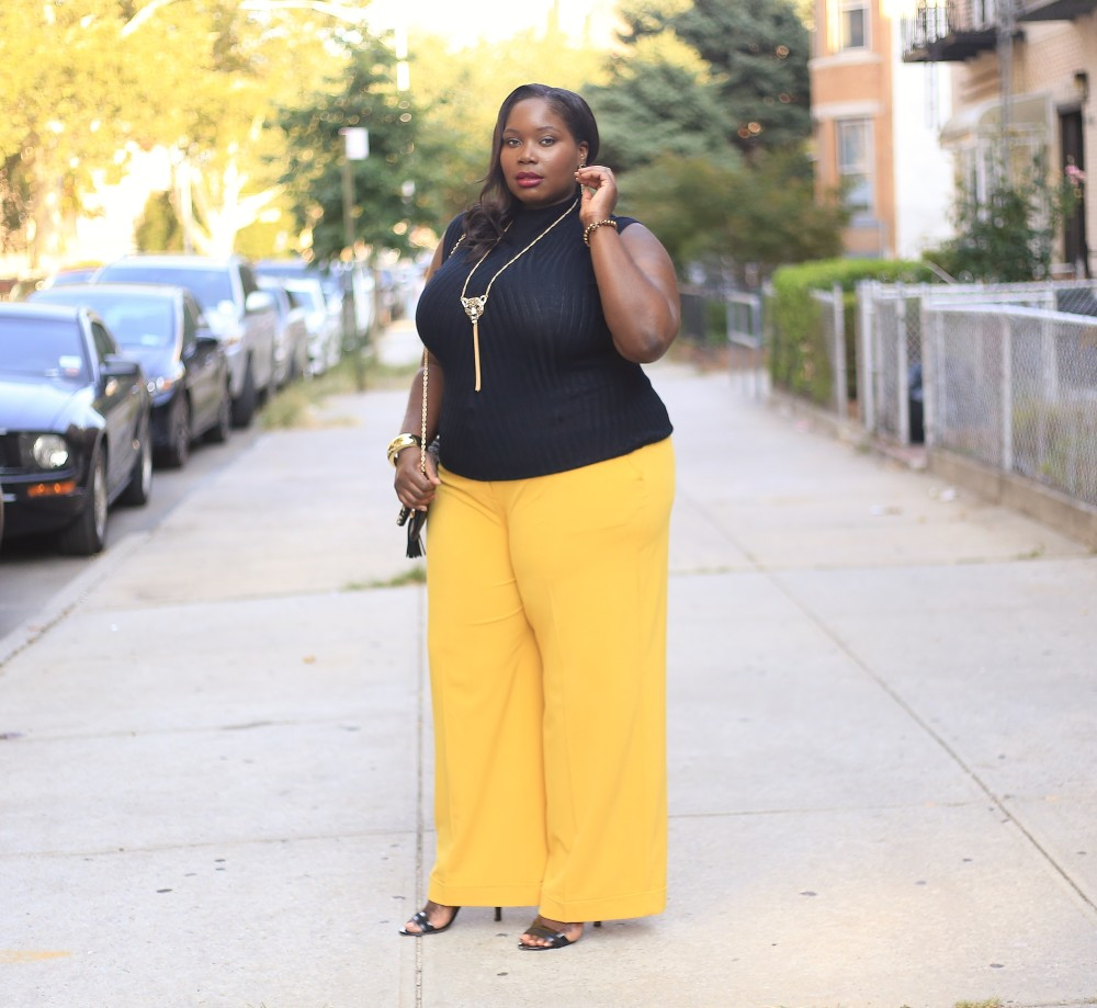Lane Bryant Mustard Plus Size Wide Leg Pants