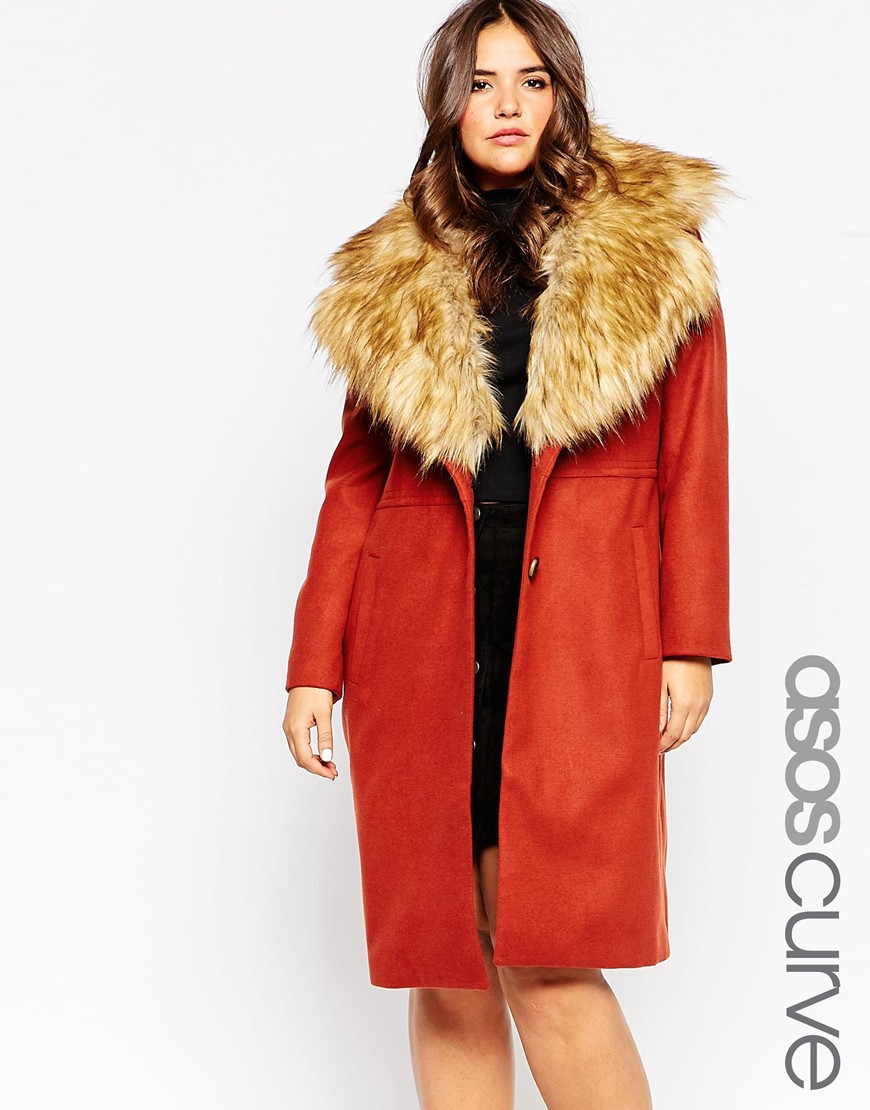 ASOS Curve faux fur collar coat