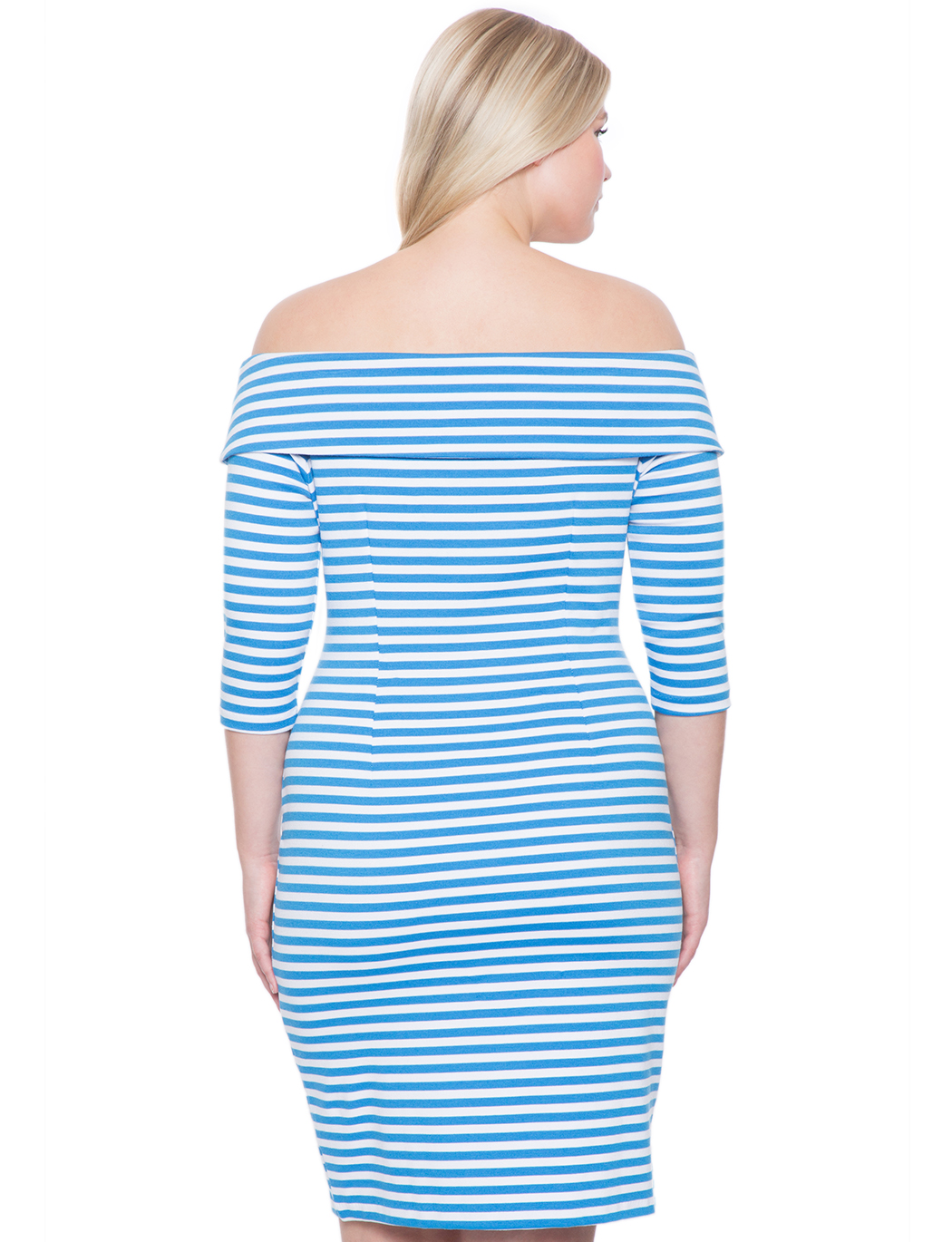 eloquii striped off the shoulder dress