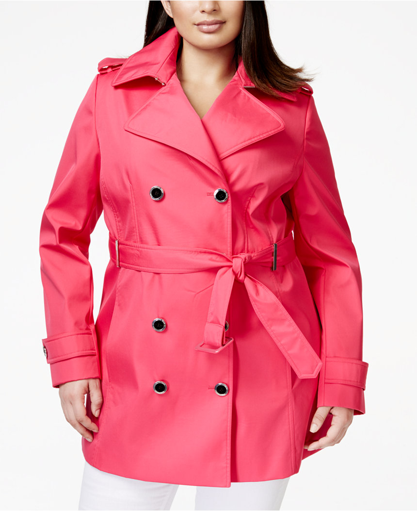 calvin klein plus size trench coats
