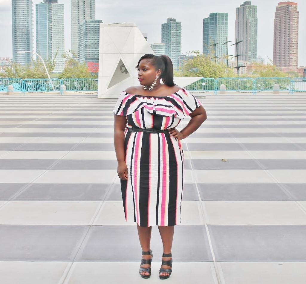 simply be striped midi dress