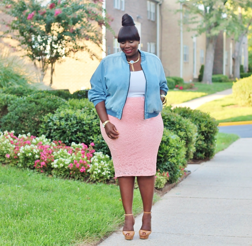 Ashley stewart plus size denim bomber