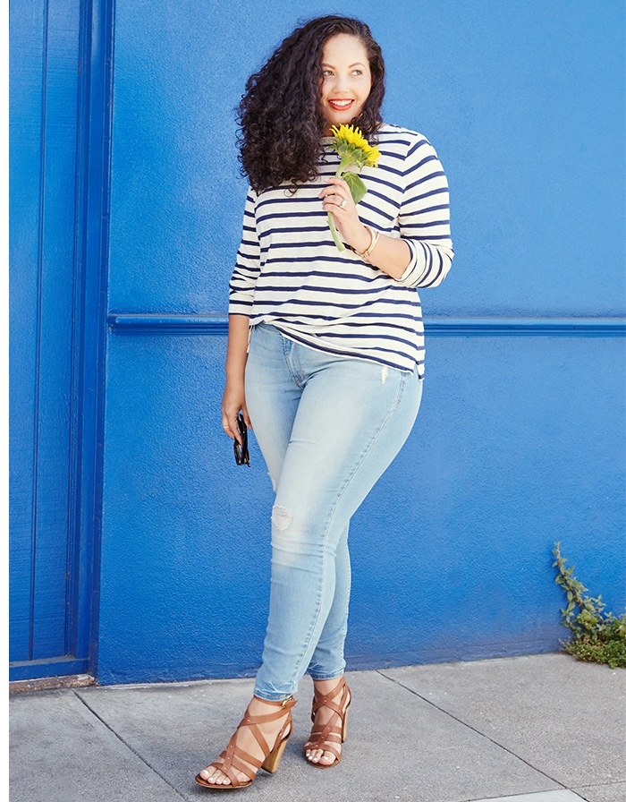 GIrl with curves old navy denim campaign