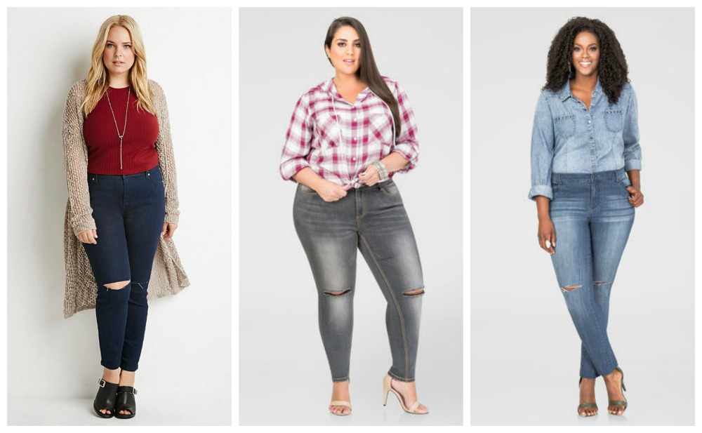 Knee Slit plus size denim trends