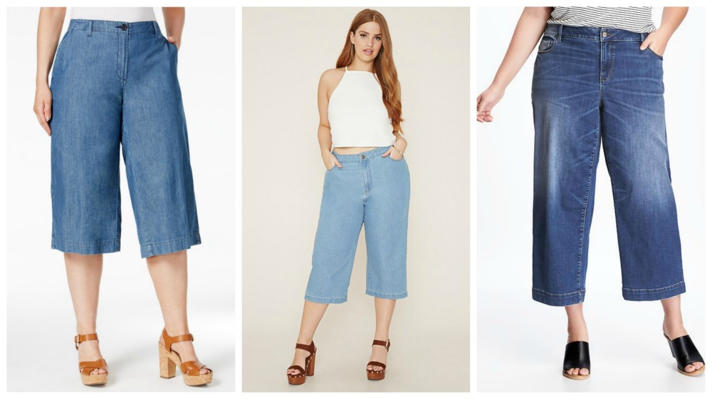 culottes plus size denim trends