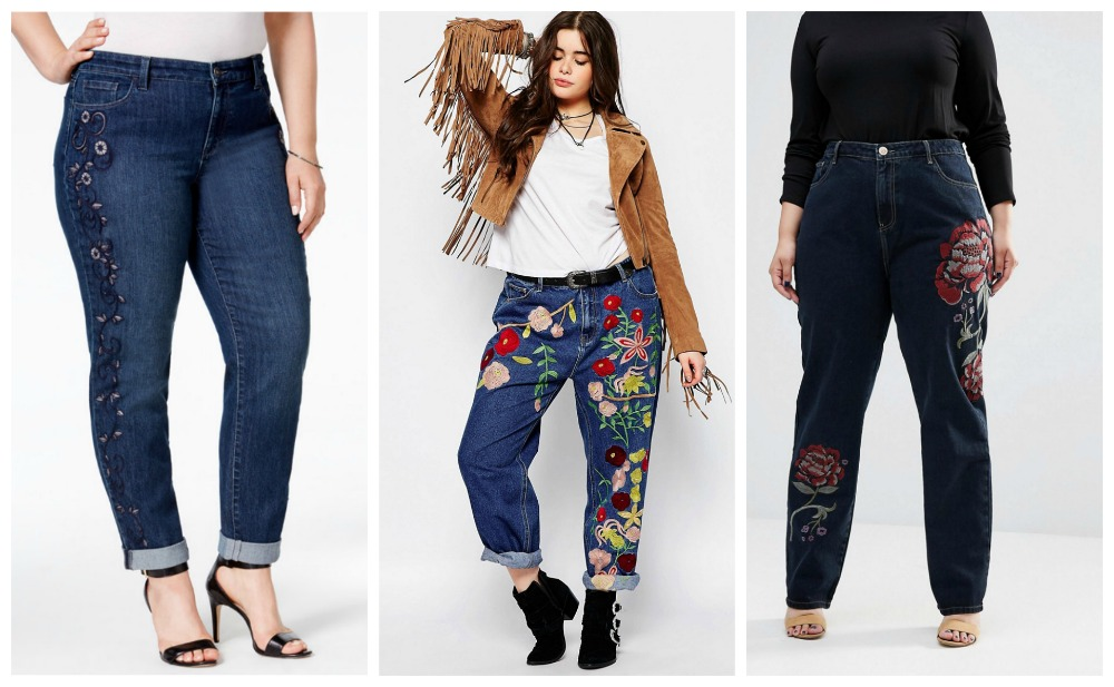 embroidered plus size denim trend