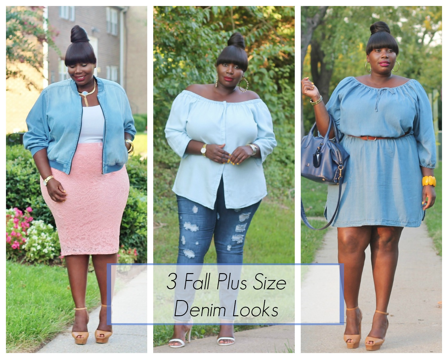 fall plus size denim looks