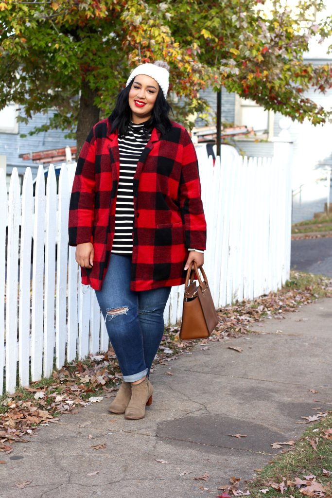10b35ca6681c Thanksgiving outfit ideas for plus size women. Blogger Chasity of  Garnerstyle
