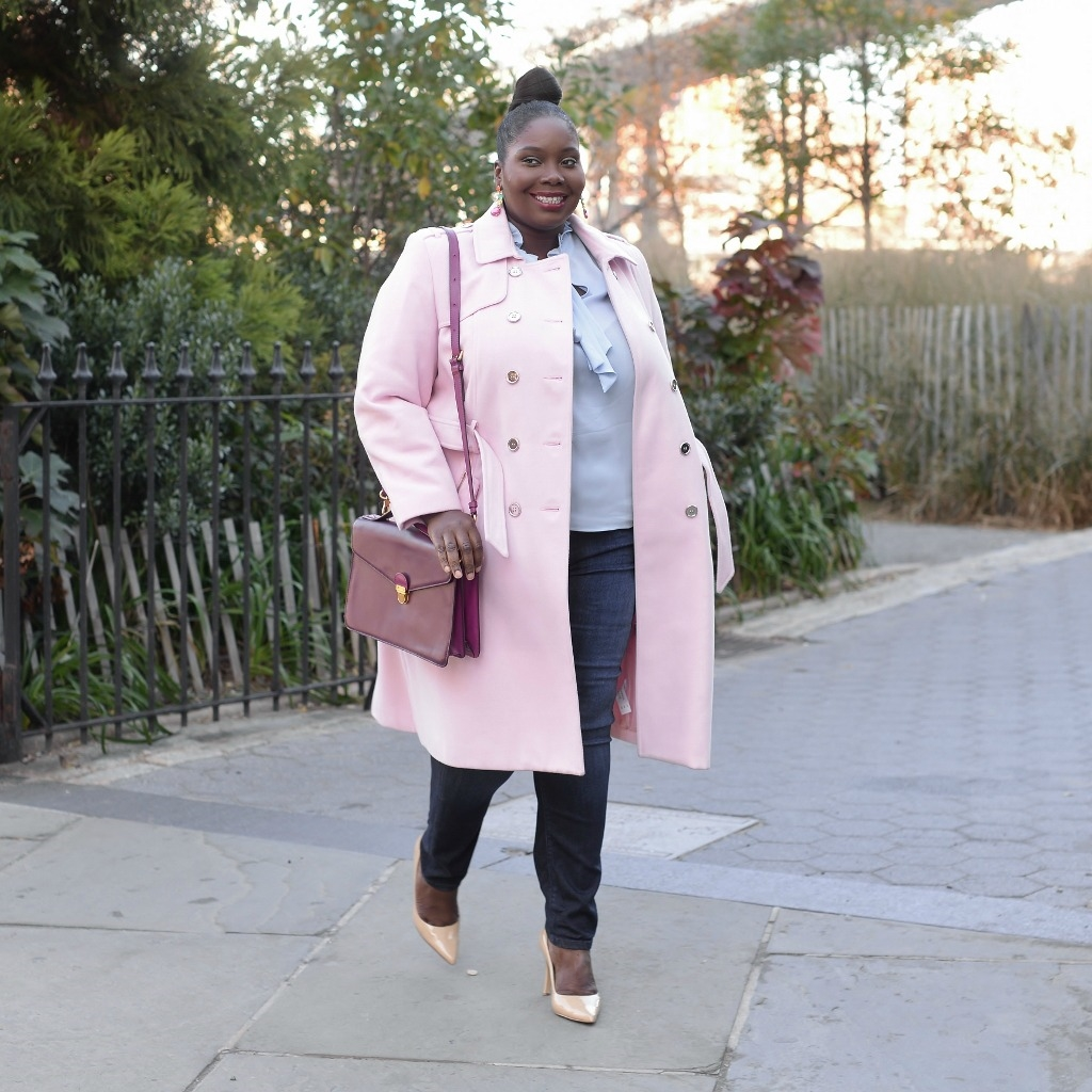 Keeping It Chic In A Baby Pink Simply Be Coat Stylish Curves
