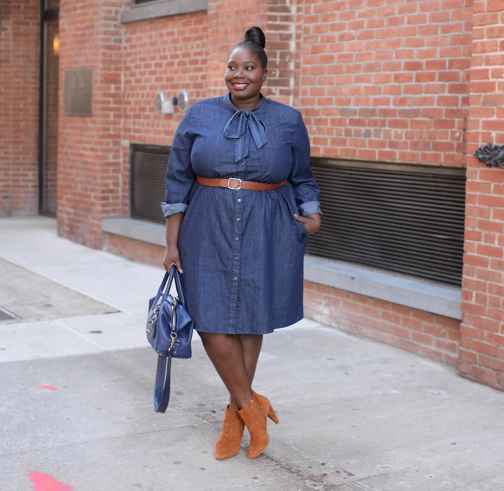 Stylish Curves in Eloquii tie neck chambray dress