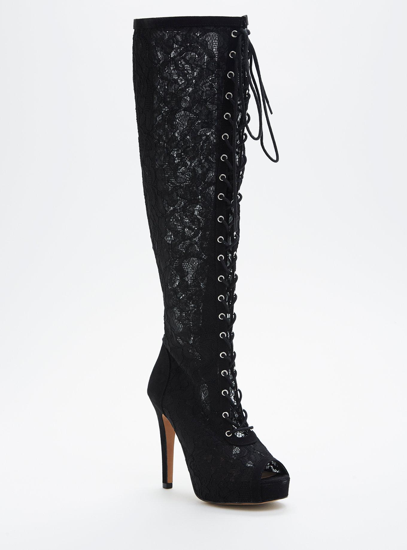 d2774059c51 Ashley Stewart Velvet Boots · Torrid Ruffled Boot · Gray Over the knee wide  calf boots