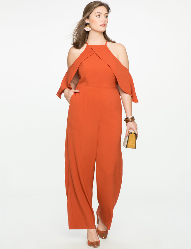 Studio Cold Shoulder Halter Neckline Jumpsuit