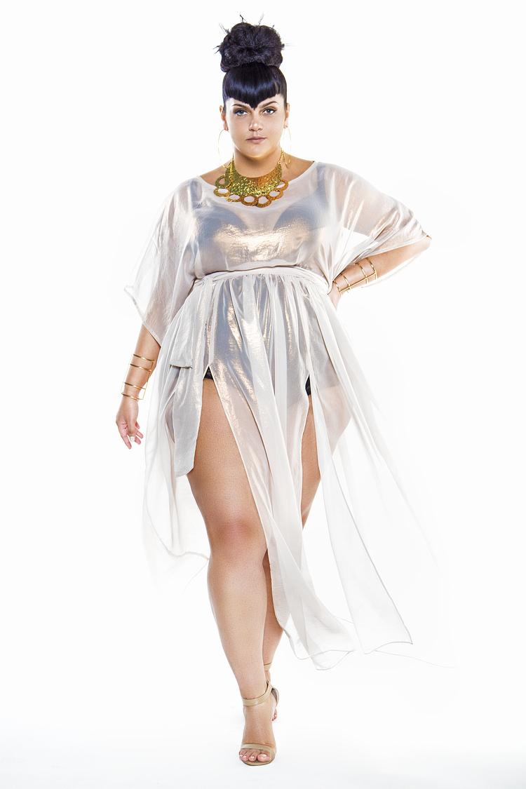 ebf465129ea0a Metallic Cap Sleeved Sheer Poolside Maxi Dress by Jibri