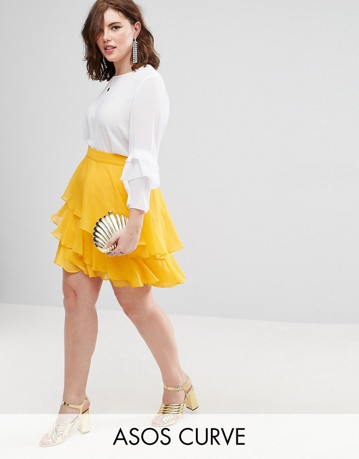 Plus size ruffled skirts