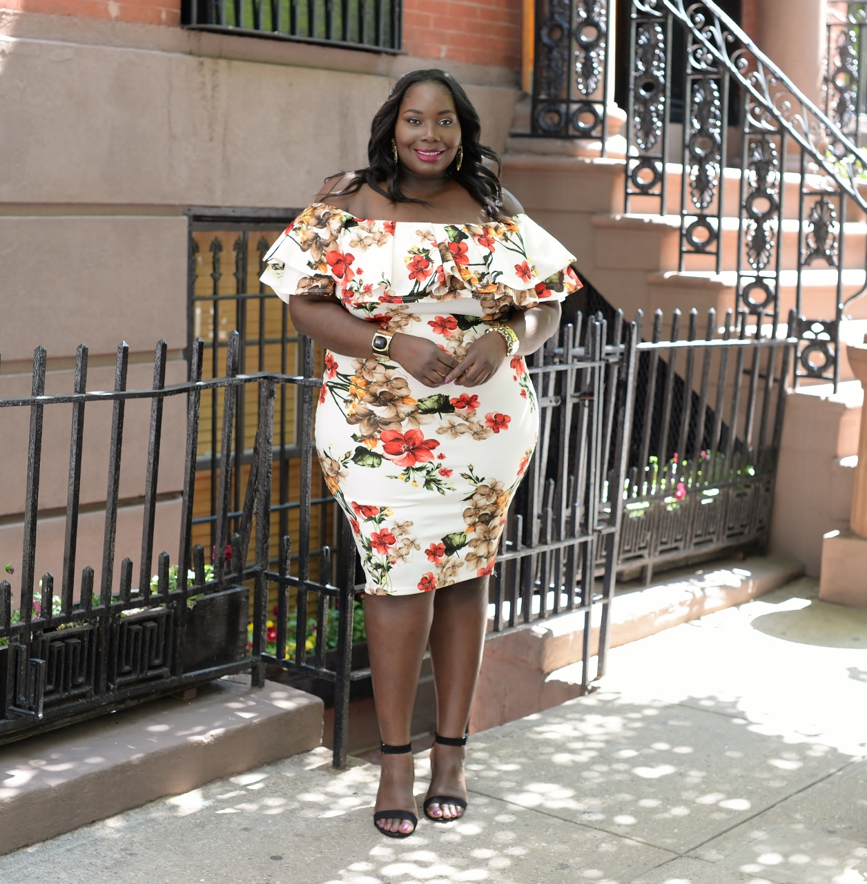 My Curves In A Floral Ruffled Plus Size Dress Giti