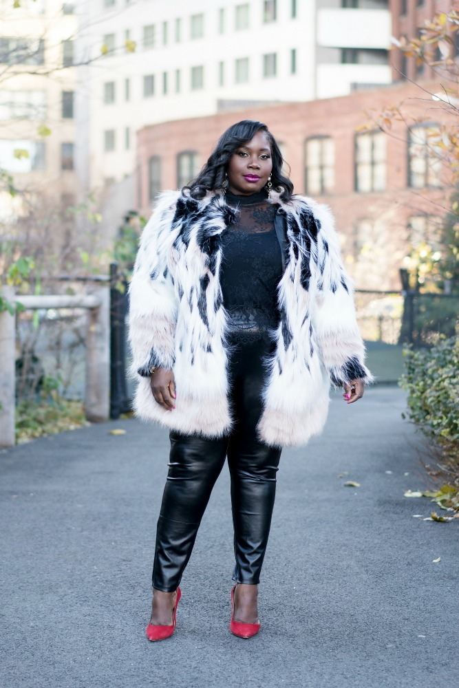 35ad45eac70 Simply Be Winter Faux Fur Coat And Lane Bryant Leather Leggings ...