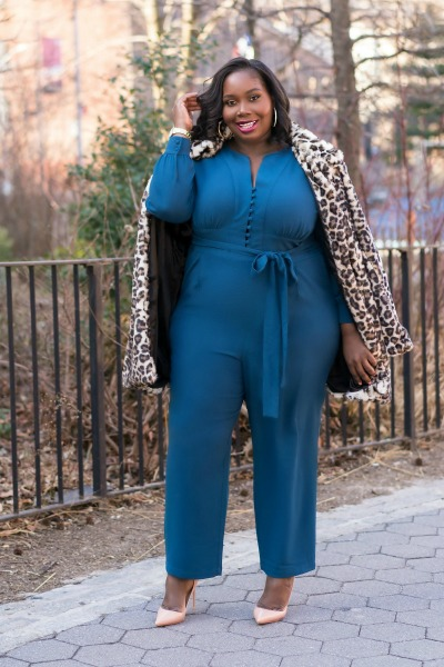 2b1ef69b4912 Keeping It Chic In An Eva Mendes Jumpsuit   Simply Be Leopard Coat ·  Gabrielle Union And New York   Company ...