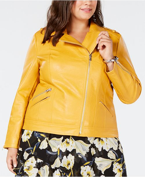 9bc48c64a76 Can we talk about this yellow moto jacket. Perfect with jeans. There s a plus  size patent trench coat ...