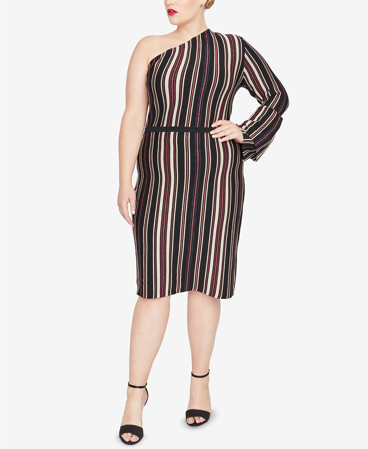Striped plus size sweater dresses