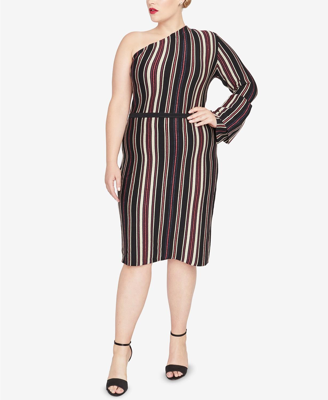 Striped plus size sweater dresses