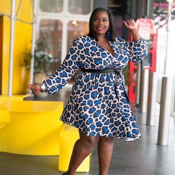 89f65285cd6 Twirling On Plus Size Haters In ASOS Curve John Zack Blue Leopard Print  Dress