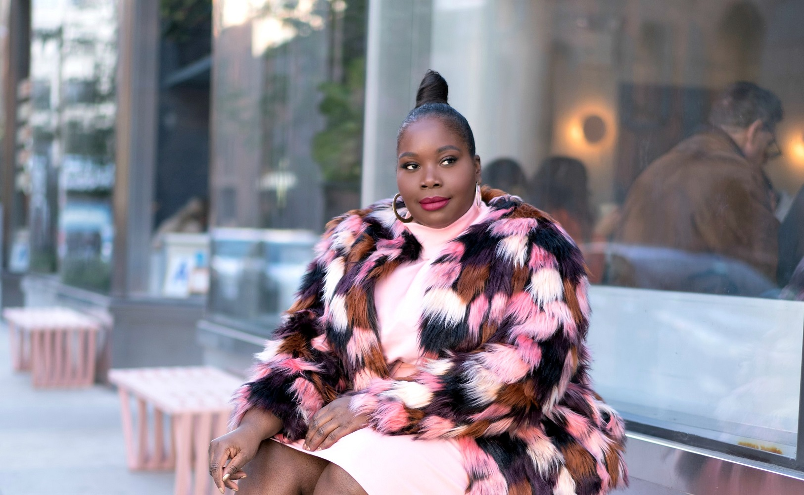 55851fa80cbd Outfit Inspiration  Faux Fur Coats   Sweater Dresses