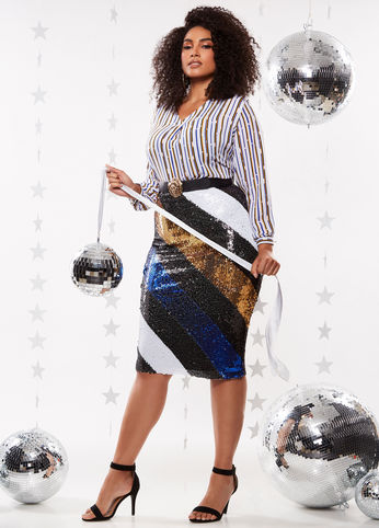 Ashley Stewart plus size holiday collection sequin stripe skirt