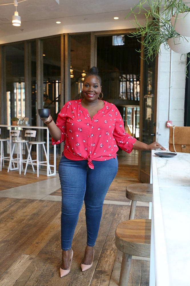 Catherine's spring plus size clothes featuring skinny leg plus size jeans